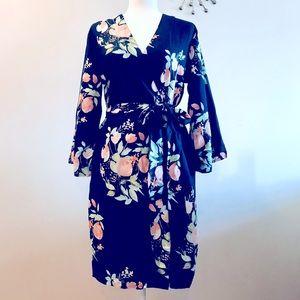 Navy Flowered Cotton Robe w/ Pockets